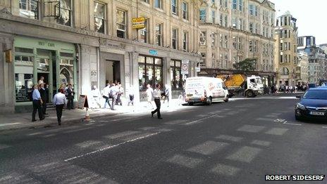 """A view of the """"hot spot"""" on Eastcheap, London"""
