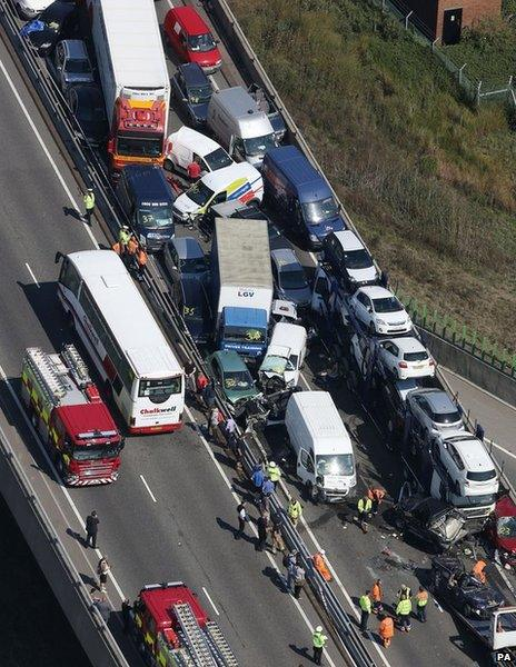 A general view of the scene on the London bound carriageway of the Sheppey Bridge Crossing near Sheerness in Kent