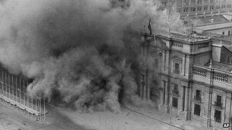 File photo from 11 September 1973 showing the bombing of the presidential palace in Santiago by military jets during a coup against President Allende's government
