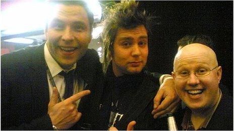 Silibil at the Brits with comedians David Walliams and Matt Lucas