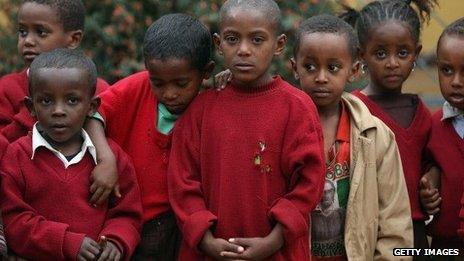 Kindergarten children in Addis Ababa, Ethiopia - March 2013