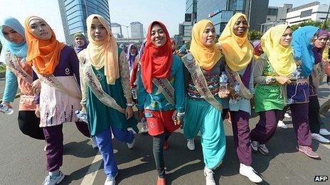 Muslimah World contestants in Jakarta. 15 Sept 2013