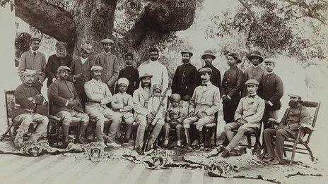 The Nizam Mahbub Ali Khan and Party Posed with Tiger Skins at Shikar Camp, April–May 1899
