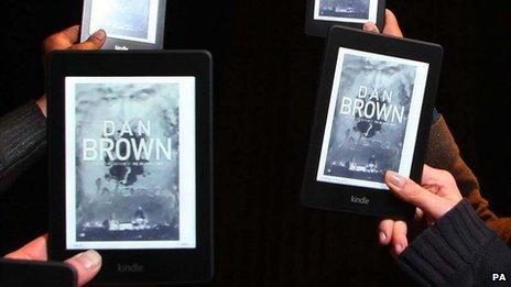 Kindles with Dan Brown's book Inferno