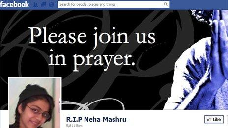 A screengrab from the R.I.P Neha Mashru Facebook page