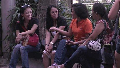 Liza Padua and friends at Orchard Road in Singapore