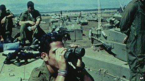 Israeli tanks on manoeuvres in the Golan Heights, 1991