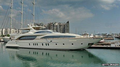 Super yacht moored in Singapore