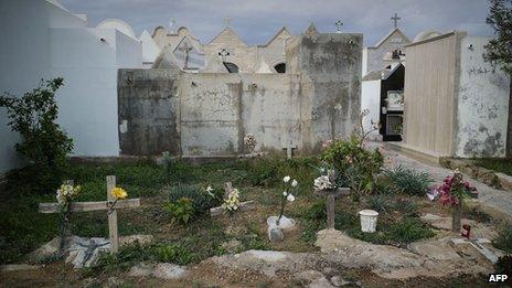 Unidentified tombs of immigrants at a cemetery in Lampedusa on 7 October 2013