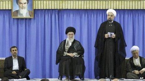 Mahmoud Ahmadinejad, Ayatollah Ali Khamenei, and Hassan Rouhani