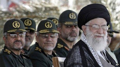 Ayatollah Khamenei with a group of Revolutionary Guard graduates