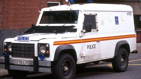 An armoured 110 Land Rover Defender