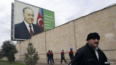 A billboard displaying a portrait of Heydar Aliyev, Azerbaijan's late president and father of current President Ilham Aliyev