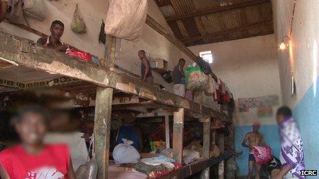 Inmates in a Madagascar prison