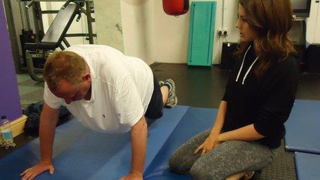 Jamie Owen and personal trainer Catrin