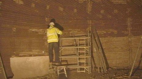 Work inside Langham Dome