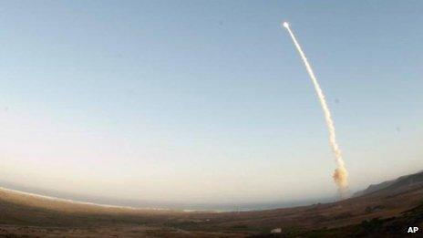 An unarmed Minuteman III intercontinental ballistic missile is test launched in May from Vandenberg Air Force Base in California