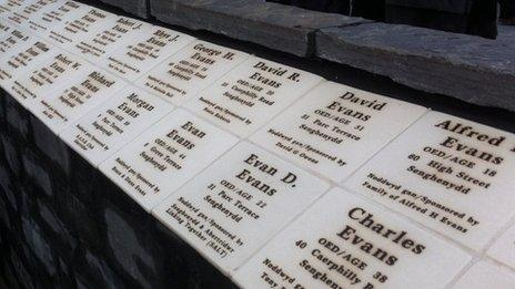 A walled garden was opened with tiles inscribed with the details of those killed in the two Senghenydd disasters