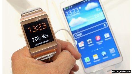 Samsung watch and phone
