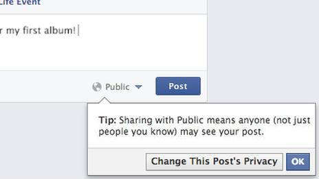 Facebook screenshot showing warning about posting publicly