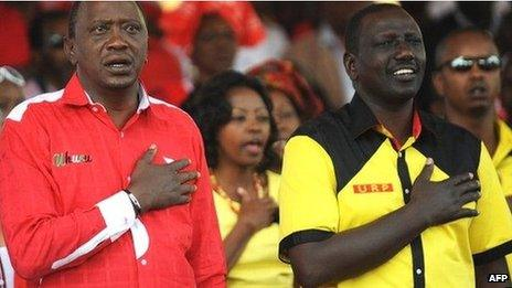 L: Uhuru Kenyatta R: William Ruto - photographed in March during their campaign to become Kenya's president and deputy president respectively