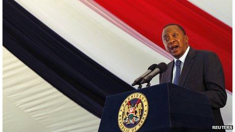 Kenya's President Uhuru Kenyatta speaks at a special service for the people killed and injured in the Westgate shopping mall attack (1 October 2013)