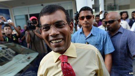 Mohamed Nasheed in Male, 18 October 2013