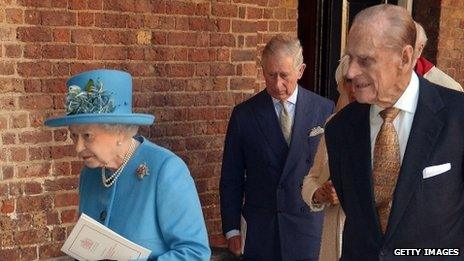 Queen and Prince Philip leaving after Prince George's christening