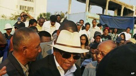 Richard Jean-Louis Robinson leaves after speaking at a rally in Antananarivo, Madagascar