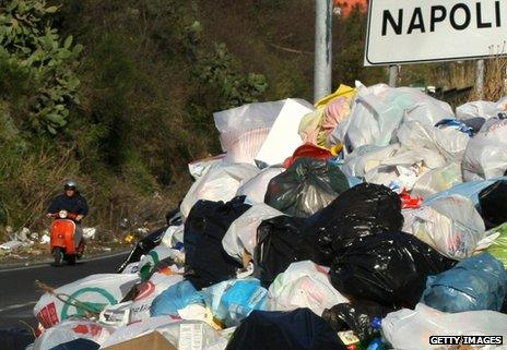 Piled rubbish on the outskirts of Naples