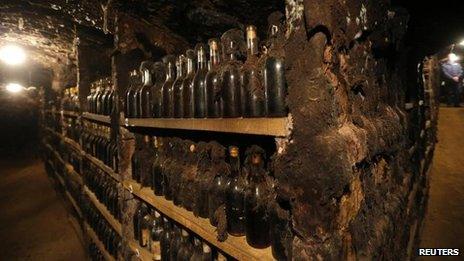 Bottles of aged wine in Tokaj, Hungary (October 2013)