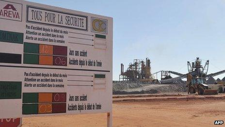 """The entrance to France""""s state-owned nuclear giant Areva""""s uranium mine on September 26, 2010 in Arlit"""