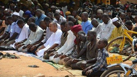 People praying at a mosque in the capital of Niger, Niamey, on Friday