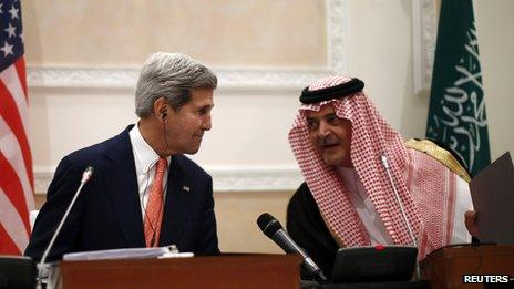 U.S. Secretary of State John Kerry participates in a joint press conference with Saudi Arabia's Foreign Minister Saud in Riyadh (4 Nov 2013)