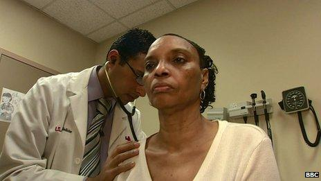 Kentucky resident Varnita Willingham is examined by a physician