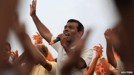 Former President Mohamed Nasheed at a march in Male, October 18, 2013