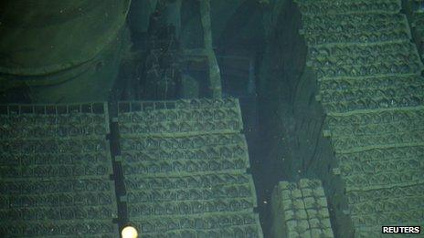 Nuclear fuel rods seen in the spent fuel pool inside the reactor four building at the Fukushima Daiichi nuclear power plant on 7 November 2013
