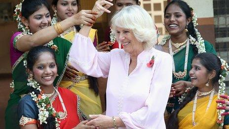 Duchess of Cornwall dancing at a Mumbai children's home