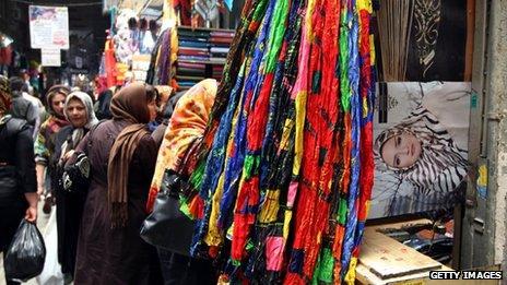 Iranians shop at the main old bazaar in Tehran
