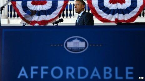 US President Barack Obama speaks on healthcare at Faneuil Hall in Boston, Massachusetts, 30 October 2013