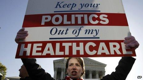 An opponent of Obamacare protests outside the Supreme Court on 27 March 2013