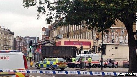 The scene of fatal cycle crash in Camberwell