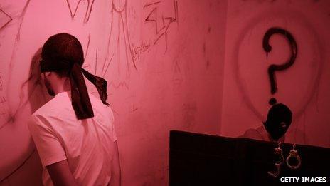 Art exhibit with blindfolded man