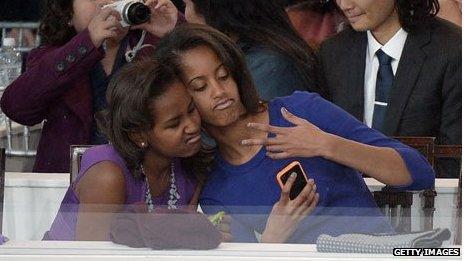 Sasha and Malia Obama at their father's inauguration