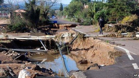 Damaged road in Olbia, Sardinia