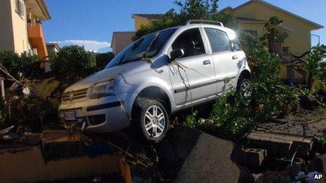 Car damaged by the cyclone in Olbia, Sardinia