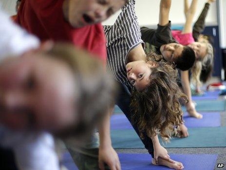 Students in their yoga class in Encinitas, California