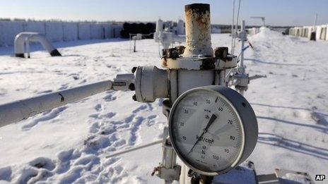 A gas pressure gauge of a main gas pipeline from Russia in the village of Boyarka near the capital Kiev