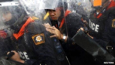 Policemen in Bangkok, 25 Nov