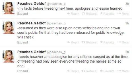 Peaches Geldof tweets